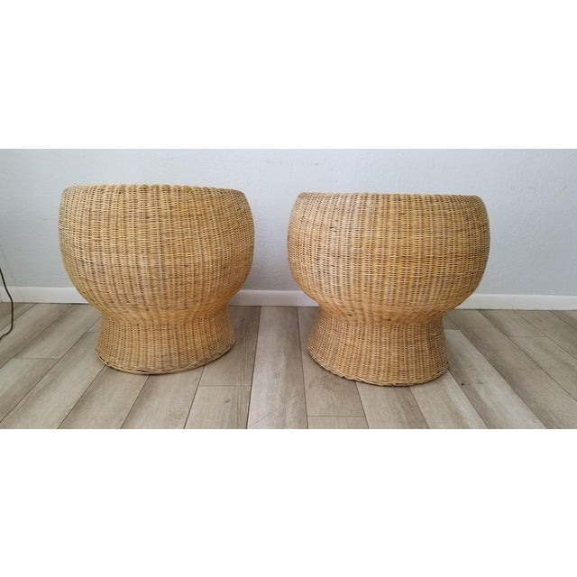 1960's Postmodern Eero Aarino Attributed Wicker Chairs and Coffee Table - Set of 3. For Sale - Image 4 of 13