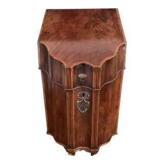Antique Georgian 19th Century Mahogany Inlay Wood Knife Box For Sale