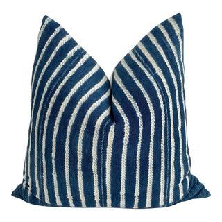 Mali Indigo Blues & White Twill Pillow 24x24 For Sale