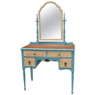 Painted Wood Makeup Vanity Desk With Mirror and Upholstered Chair For Sale