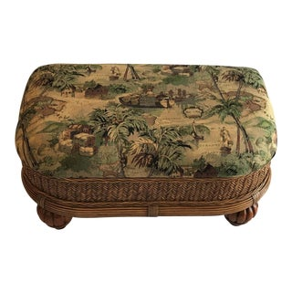 Late 20th Century Vintage Rattan & Wicker Ottoman For Sale
