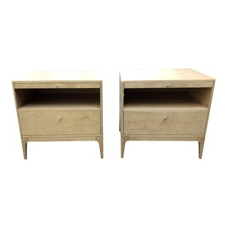 Contemporary Barbara Barry Blonde Wood End Tables - a Pair