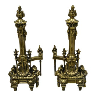 Vintage French Empire Brass Bronze Column and Flame Finial Fireplace Andirons - a Pair For Sale