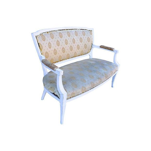 Petite French-Style Love Seat Painted White - Image 3 of 5