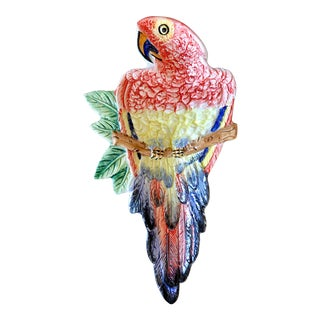 Vintage Italian Pottery Parrot Dish For Sale