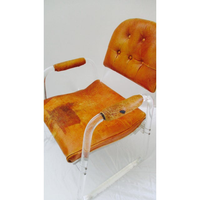 Hill Manuf Lucite and Leather Club Chair - Custom Piece For Sale - Image 9 of 13
