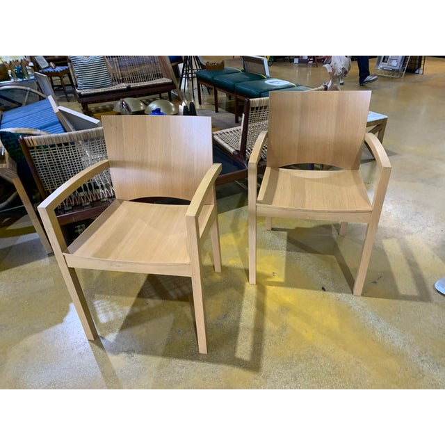 1980s Italian Cerused, Rift-Sawn White Oak Accent / Dining Arm Chairs, a Pair For Sale - Image 13 of 13