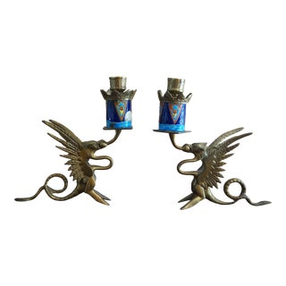 1950s Chinese Cloisonné Enamel and Brass Dragon Candle Holders - a Pair For Sale