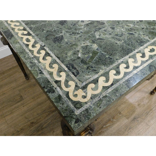 Metal Maitland Smith Neo-Classical Square Marble Top Bronze and Iron Game Table For Sale - Image 7 of 13