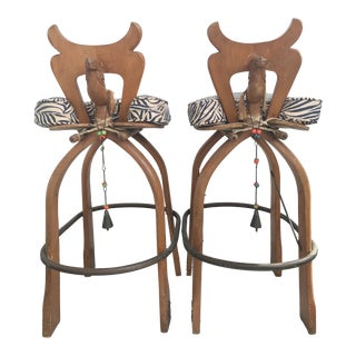 """Pair Moroccan """"Camel"""" Barstools For Sale"""