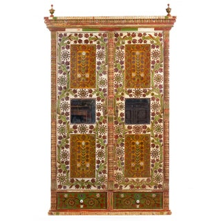 European Bohemian Antique Folk Art Floral Painted Armoire Wardrobe Cabinet Preview