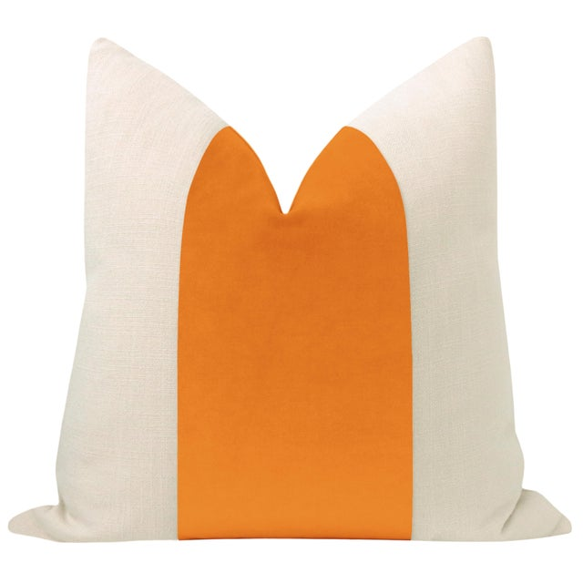 """Pair of beautiful 22"""" natural linen pillows with Clementine velvet center and solid natural linen reverse. Meticulously..."""