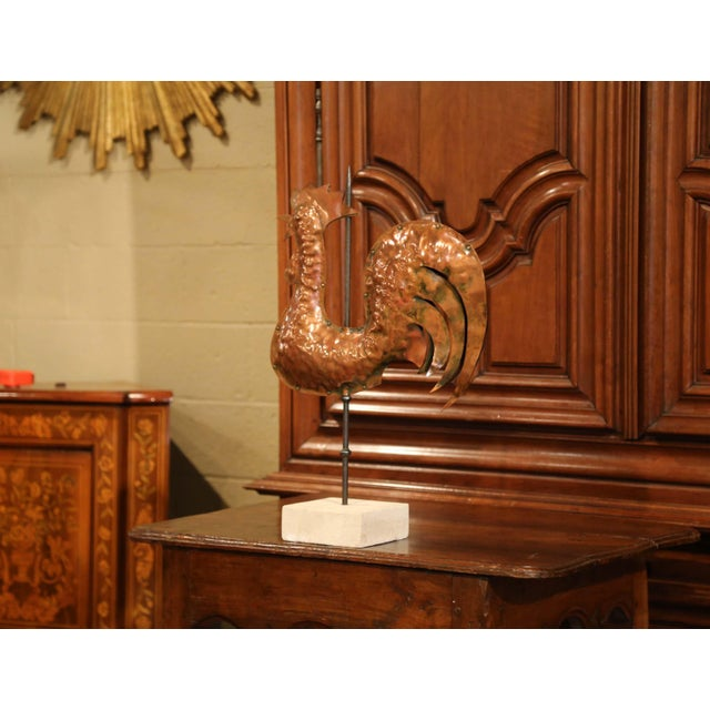 This beautiful antique rooster weather vane was crafted in France, circa 1780. Sitting on a sandstone base, the iconic...