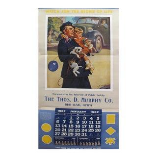 1952 Original American Calendar Poster, D. Murphy Co.