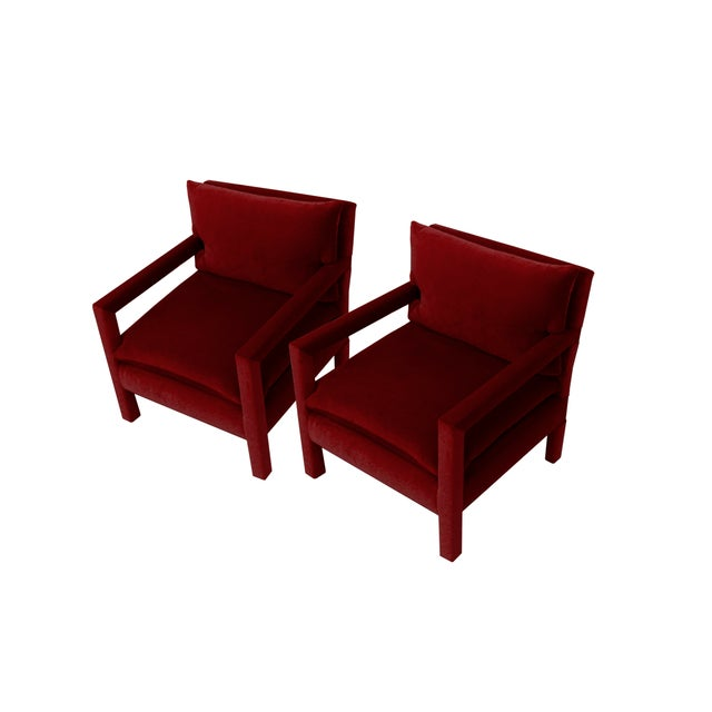 Wood Parsons Lounge/Armchairs in Ruby Mohair - A Pair For Sale - Image 7 of 7