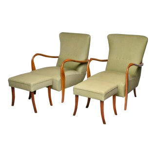 Mid-Century Italian Armchair and Stools With New Upholstery - 4 Pc. Set For Sale