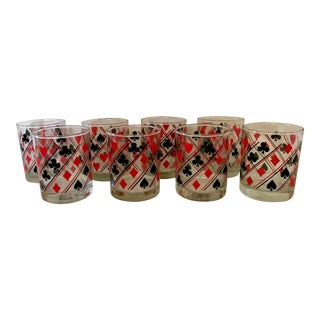 S/8 Card Suit Lowball Glasses For Sale