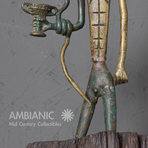 Modernist Bronze Sculpture Sumerian God with Snake & Cup - Image 6 of 10