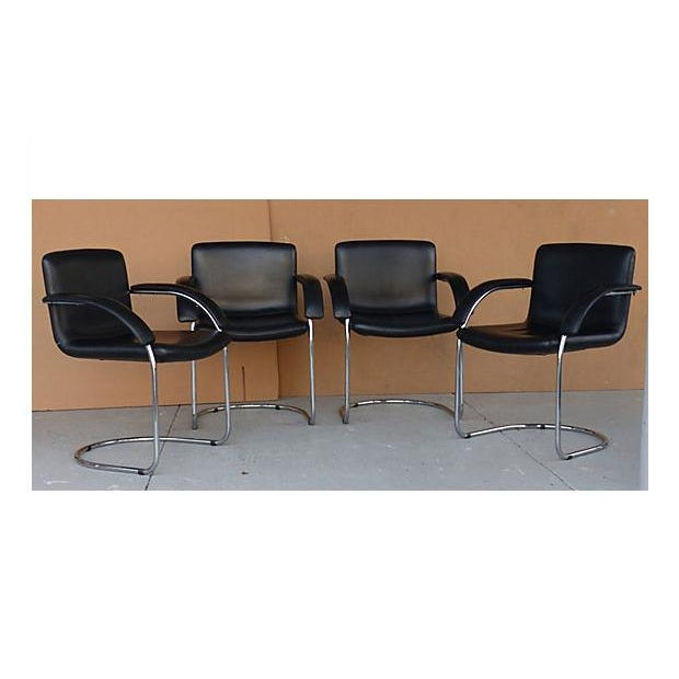 Leather Arm Chairs by Saporiti Italia - Set of 4 - Image 2 of 10