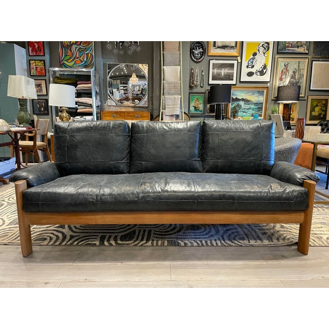 MCM Danish Sofa in Black Leather For Sale - Image 13 of 13
