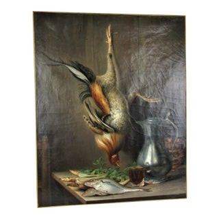 Antique Italian Hunter's Painting of Hanging Pheasant For Sale