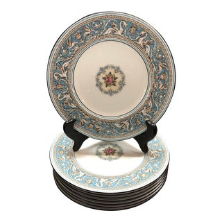 Wedgwood Turquoise Florentine Dinner Plates - Set of 9 For Sale