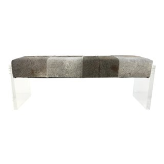 Modern Universal Gray Hair on Hide Lucite Bench For Sale