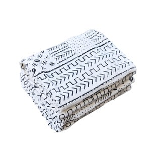 """African Bogolan White & Black Mud Cloth Textile 61 """" by 42 """" Pair For Sale"""