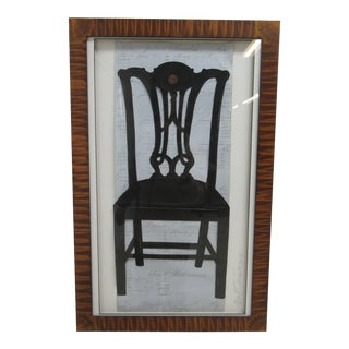 "Framed ""Maitland Smith Chair"" Paper Cutting Silhouette Collage by Alison Shriver Design For Sale"