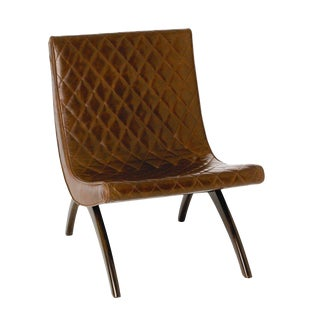 Modern Arteriors Home Danforth Quilted Brown Leather Lounge Chair