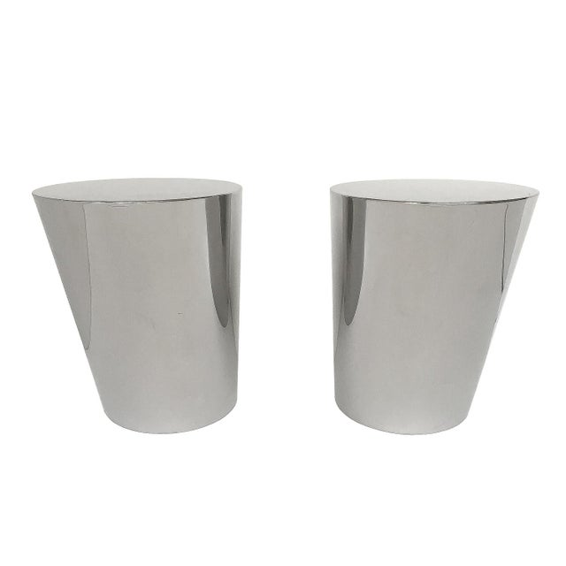 1970s Pair of Brueton Polished Steel Zephyr End Tables by J. Wade Beam For Sale - Image 5 of 11