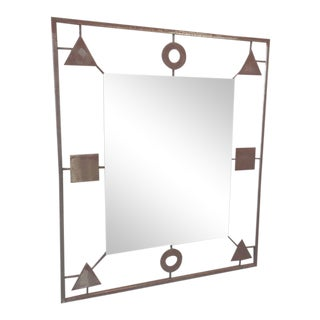 Vintage Geometric Metal Frame Mirror