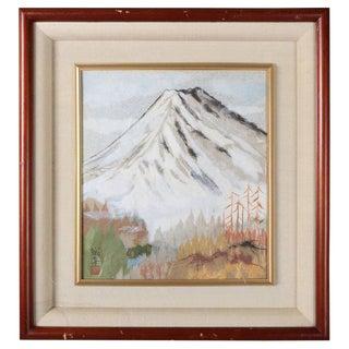 Japanese Chigirie Work of Mt. Fuji by Master Seino Kozaki, 20th Century For Sale