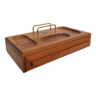 Mid Century 1960's Handcrafted Walnut Tabletop Valet For Sale