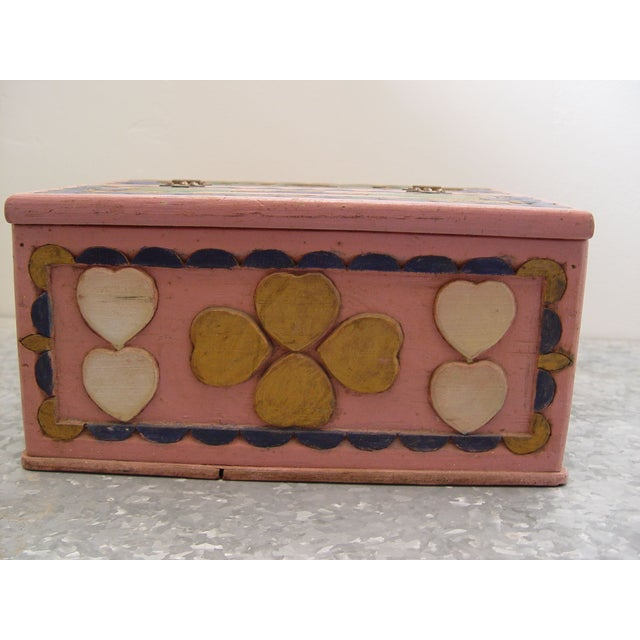 1936 Folk Art Carved and Painted Box - Image 6 of 7