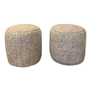 Contemporary Style Oatmeal Gray Ottomans - A Pair
