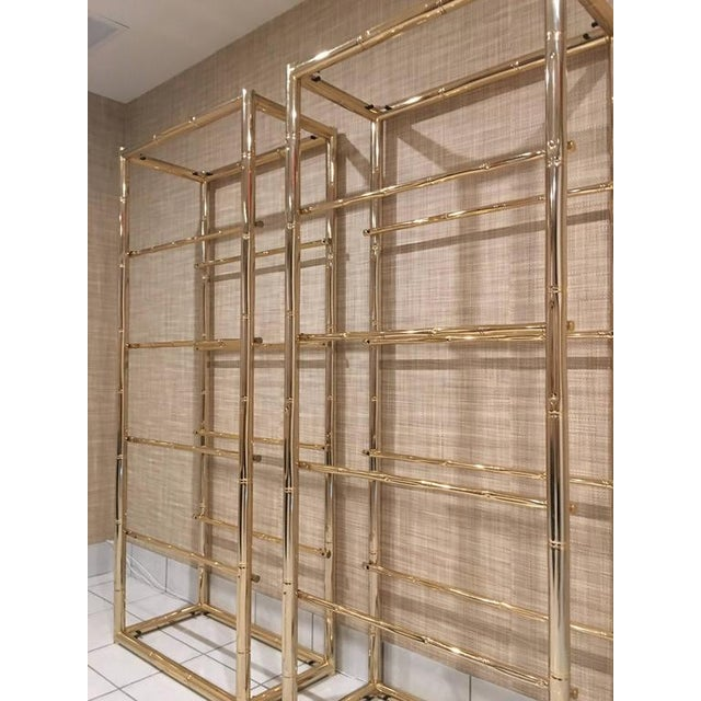 Metal Faux Bamboo Brass Etagere Display Shelves - A Pair For Sale - Image 7 of 12