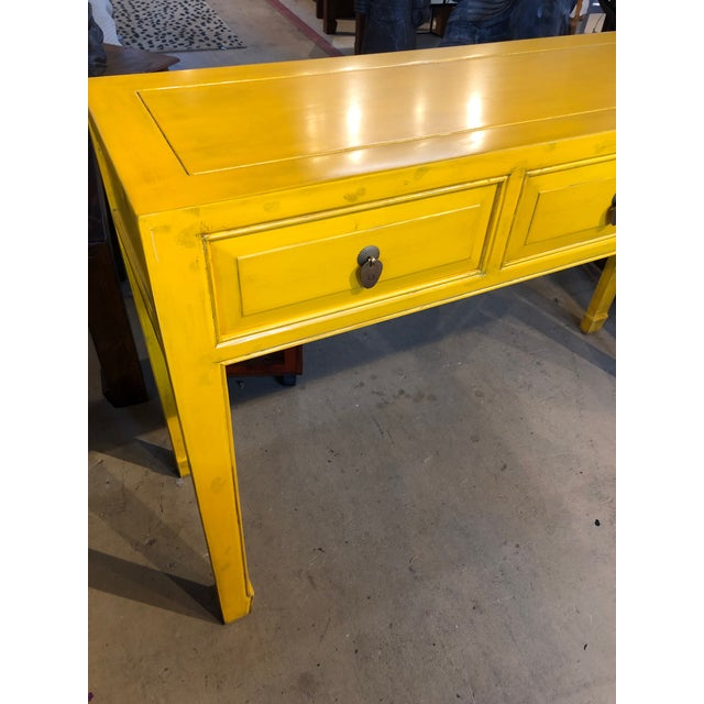 Asian Asian Style Yellow 3-Drawer Console Table For Sale - Image 3 of 7