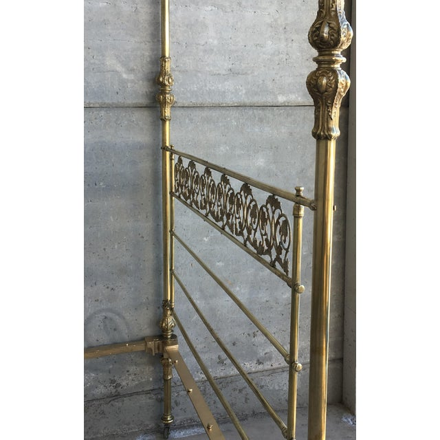 19th Wide Brass Four Poster Bed With Bird Castings, Ornamental Motifs and Crown For Sale - Image 10 of 13