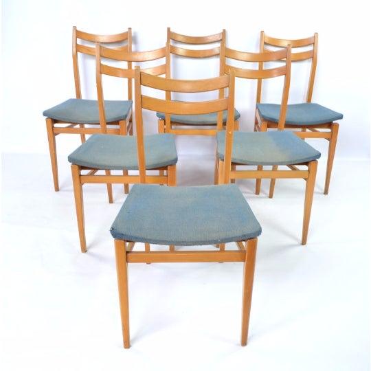 Danish Blonde Modern Chairs - Set of 6 - Image 2 of 6