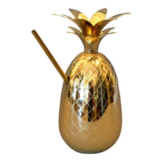 Brass Pineapple Pina Colada Cup With Straw For Sale