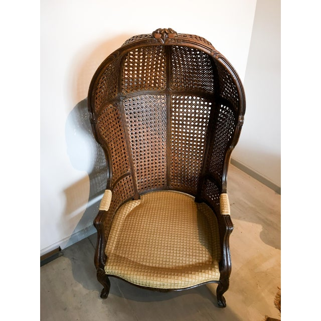 Wood Mariano Garcia Cane Hooded Porter's Chair For Sale - Image 7 of 11