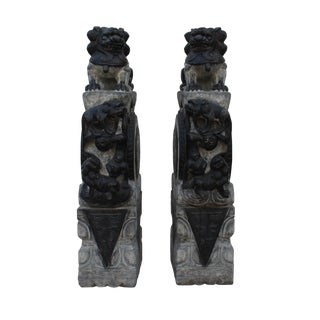 Chinese Pair Gray Black Stone Fengshui Foo Dogs Lions Door Block Statue For Sale