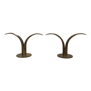 Mid Century Modern Brass Tulip Candle Holders - A Pair For Sale