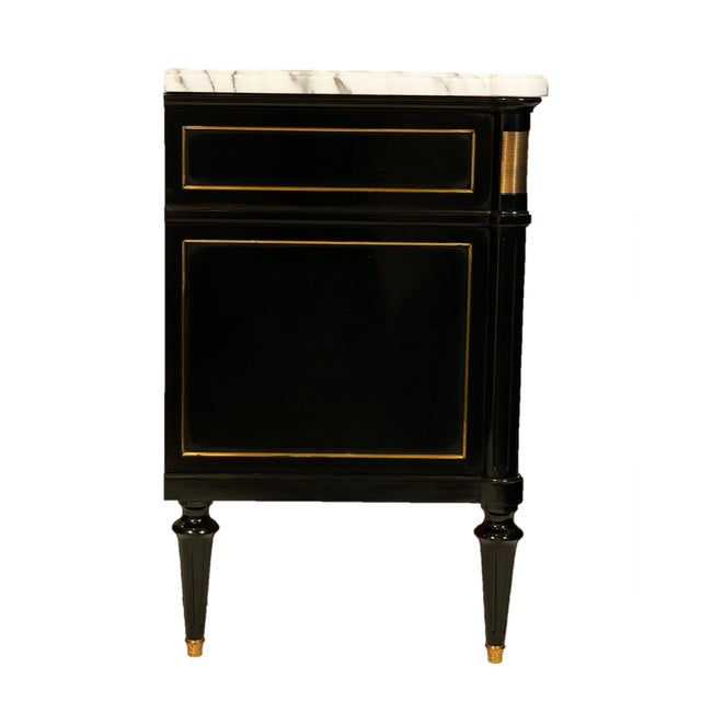 Wood Louis XVI Style Marble Topped Chest For Sale - Image 7 of 9