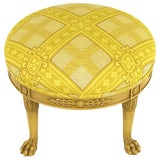 Image of Round Lion's Paw Glazed Mahogany and Saffron Silk Empire Style Ottoman For Sale