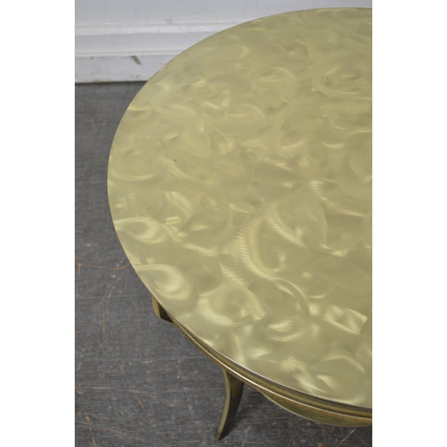 Studio Custom Crafted Pair of Brushed Steel Gold Finish Round Side Tables - Image 6 of 10