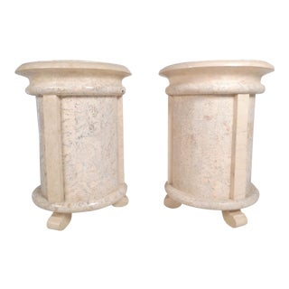 Pair of Midcentury Maitland Smith Style Cylindrical End Tables For Sale