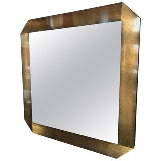 Italian Midcentury Octagonal Bronze Frame Mirror, 1970s For Sale