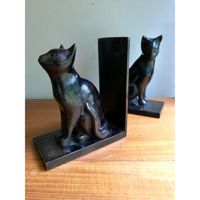 Vintage Book Ends Cats - Polished Stone, a Pair For Sale - Image 5 of 9